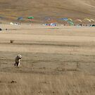 paragliders, Piano Grande, Umbria, Italy by Andrew Jones