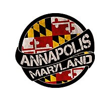 Annapolis Maryland grunge scroll circle Photographic Print