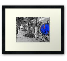 Brussels Wall, Trees, Graffiti Framed Print