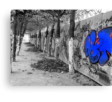 Brussels Wall, Trees, Graffiti Canvas Print