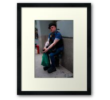 New Yorker wearing a bowler Framed Print