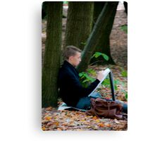 Young artist sketching in Middleheim Sculpture Park, Antwerp, Belgium Canvas Print