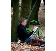 Young artist sketching in Middleheim Sculpture Park, Antwerp, Belgium Photographic Print