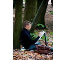 Young artist sketching in Middleheim Sculpture Park, Antwerp, Belgium Photographic Print