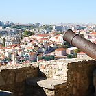 Lisbon cityscape over cannon by luissantos84