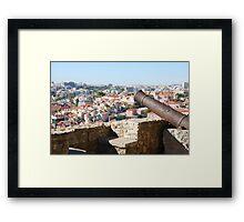 Lisbon cityscape over cannon Framed Print