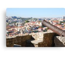 Lisbon cityscape over cannon Canvas Print