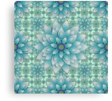 Embroidered blue & green Canvas Print