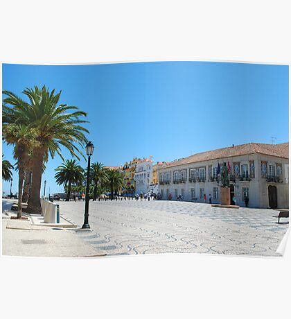 Famous square in Cascais Poster