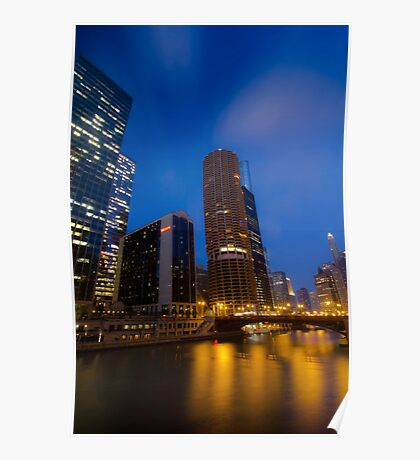 Marina City with soft clouds Poster
