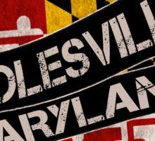 Poolesville Maryland grunge scroll circle Sticker