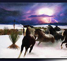 White Sands Horses by Richard  Gerhard