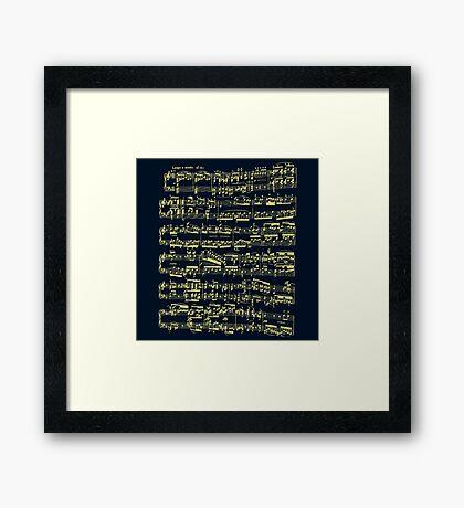 Bright yellow sheet music on deep blue background Framed Print