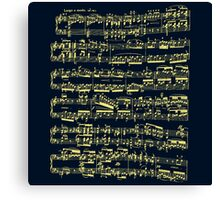 Bright yellow sheet music on deep blue background Canvas Print