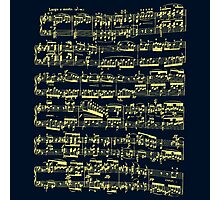 Bright yellow sheet music on deep blue background Photographic Print