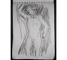 male nude/life drawing -(140212)- pen & ink sketch/digital photo Photographic Print