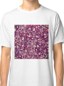 Modern Rustic Red Floral Drawings Classic T-Shirt