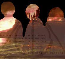 Harry Potter Trio Three Layered Photos Design by pottergod