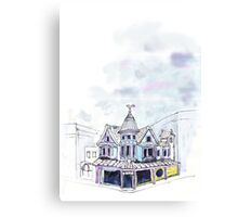 Inky Architecture - The Lucky Cat Cafe  Canvas Print