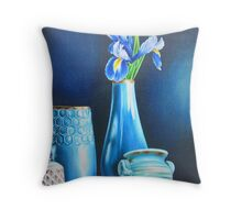 Blue Still life with Iris Throw Pillow