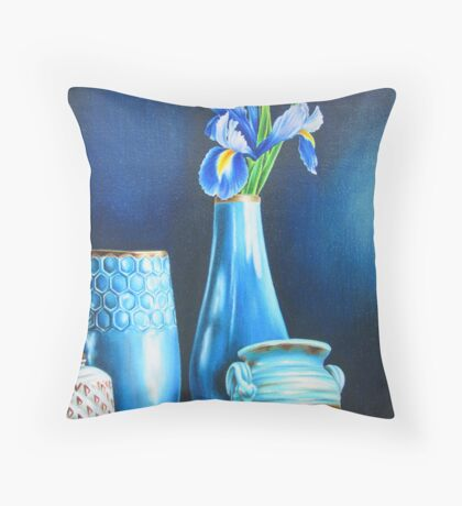 Blue Still life with Iris Throw Pillow