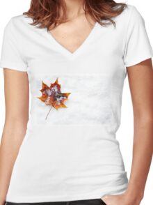 Fallen Leaf in the Snow Women's Fitted V-Neck T-Shirt
