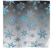 Embroidered Snowflakes on light Poster