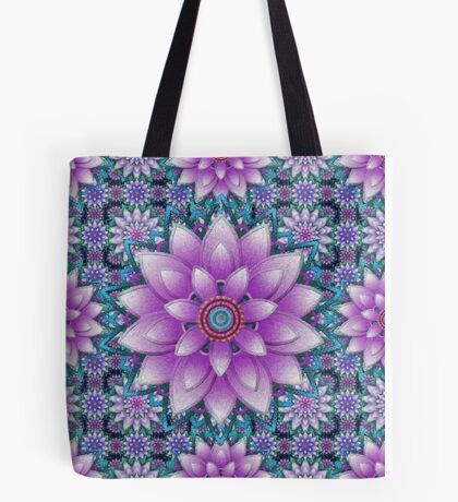 Embroidered purple&green Tote Bag