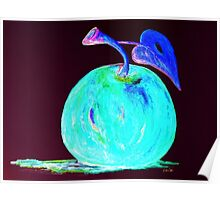 Abstract Blue And Teal Apple Poster