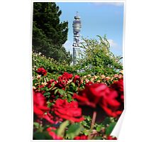 BT Tower and Roses Poster