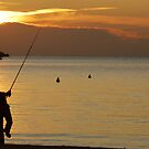 Fisherman in the evening sun by Arie Koene