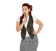 Red-haired girl isolated on white background Photographic Print