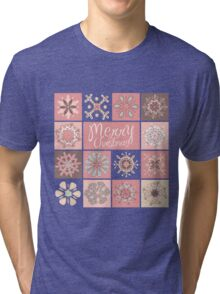 Merry Christmas in Pastel Pinks Tri-blend T-Shirt