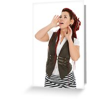 Attractive beautiful girl isolated on white background Greeting Card