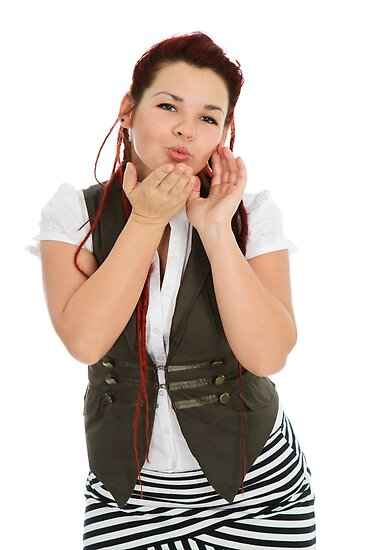 Attractive beautiful woman sending kiss by fotorobs