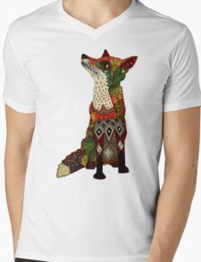 floral fox Mens V-Neck T-Shirt