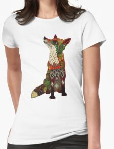 floral fox Womens Fitted T-Shirt