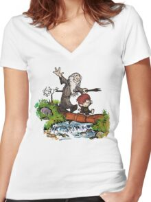 Lord of the Rings meets Calvin and Hobbes Women's Fitted V-Neck T-Shirt
