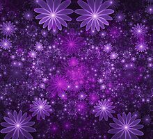 Fractal Purple Flowers  by Beatriz  Cruz