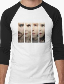 Once Upon a Time, Faces version 2, emma swan, prince charming, snow white, hook, killian, OUAT Men's Baseball ¾ T-Shirt