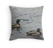 Mallards in the Ocean Throw Pillow