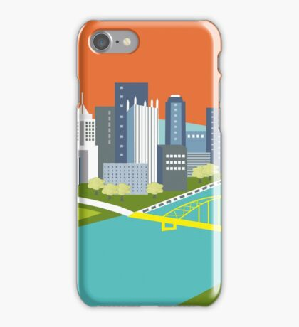 Pittsburgh, Pennsylvania - Skyline Illustration by Loose Petals iPhone Case/Skin