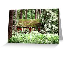 Red House Green Forest Greeting Card