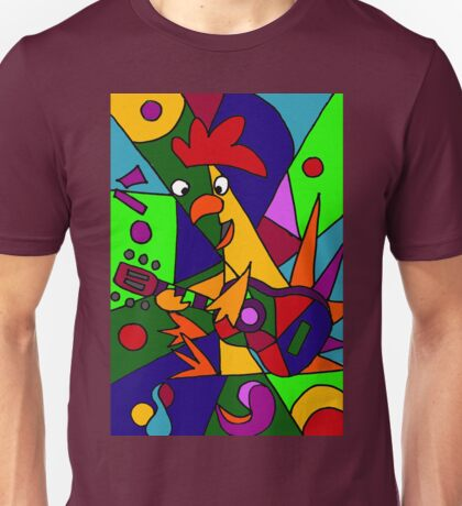 Funky Cool Rooster Playing Guitar Art Abstract Unisex T-Shirt