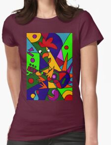 Funky Cool Rooster Playing Guitar Art Abstract Womens Fitted T-Shirt