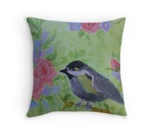 roses, chickadee, garden secret garden Throw Pillow