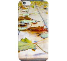 Selective focus on fallen autumn maple leaves iPhone Case/Skin