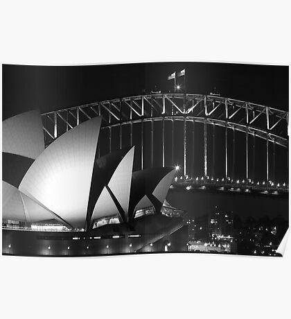 Sydney Harbour Bridge and Opera House Close up Poster