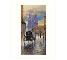 Prague Old Town Square Old Cab Art Print