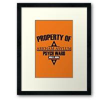 Arkham Asylum // Psych Ward Inmate Design Framed Print